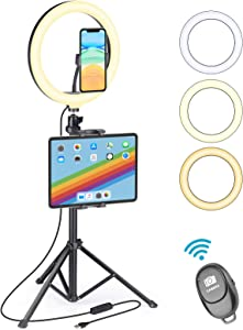 "UFULA Ring Light with Stand for iPad iPhone, 10"" LED RingLight Tripod with Tablet Phone Holder, Selfie Circle Lamp Video Recording for Live Makeup YouTube TikTok Zoom Meeting Online Teaching"