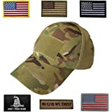 73778049 HOZZQ Tactical Hat Adjustable Operator Flex Mesh Cap Hat with 6 Pieces  Tactical Military Patches USA
