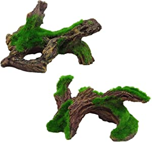 Tfwadmx Decaying Trunk Aquarium , Artificial Resin Log Tree with Moss Fish Tank Decoration