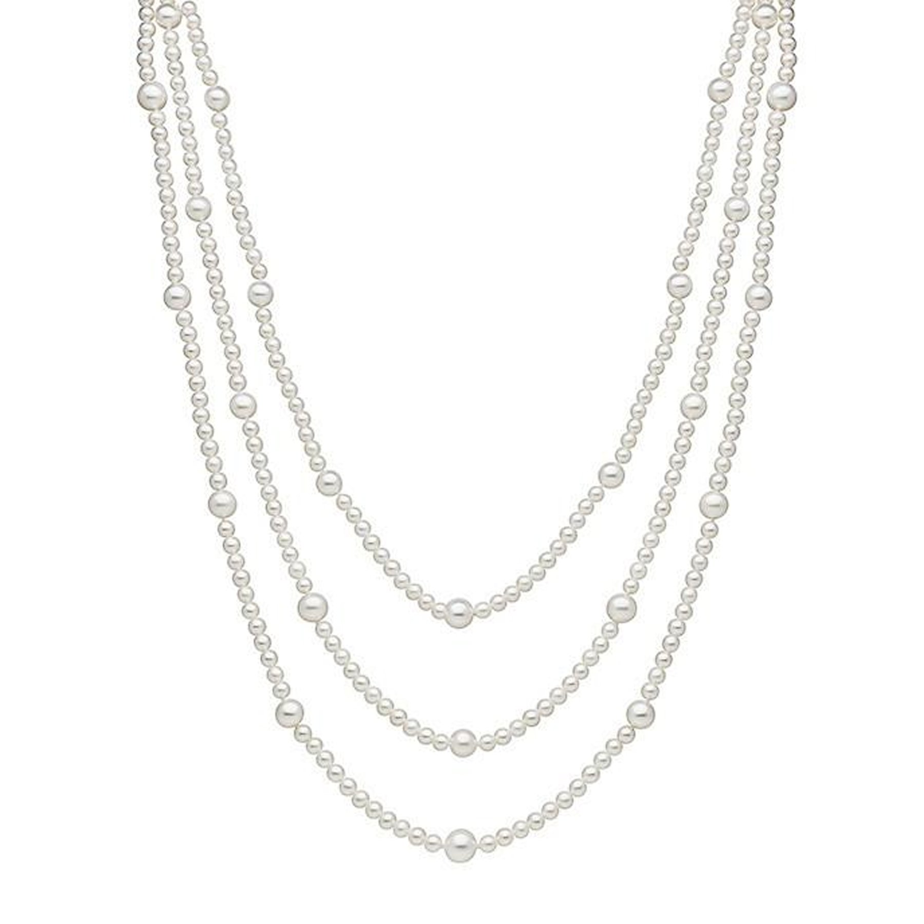 100'' White Multi Size Freshwater Cultured Pearl Necklace Endless