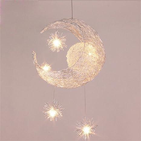 Lámpara de araña decorativa luna y estrellas creativas ...