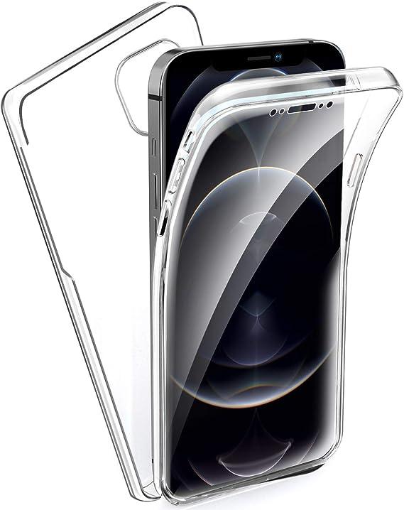 6.7 Oududianzi Coque pour iPhone 12 Pro Max ,360 Degr/és Protection,Transparent Tr/ès Mince /Étui en Silicone TPU Front et PC Retour Housse Beaut/é dorigine Double Protection Cover-Transparent