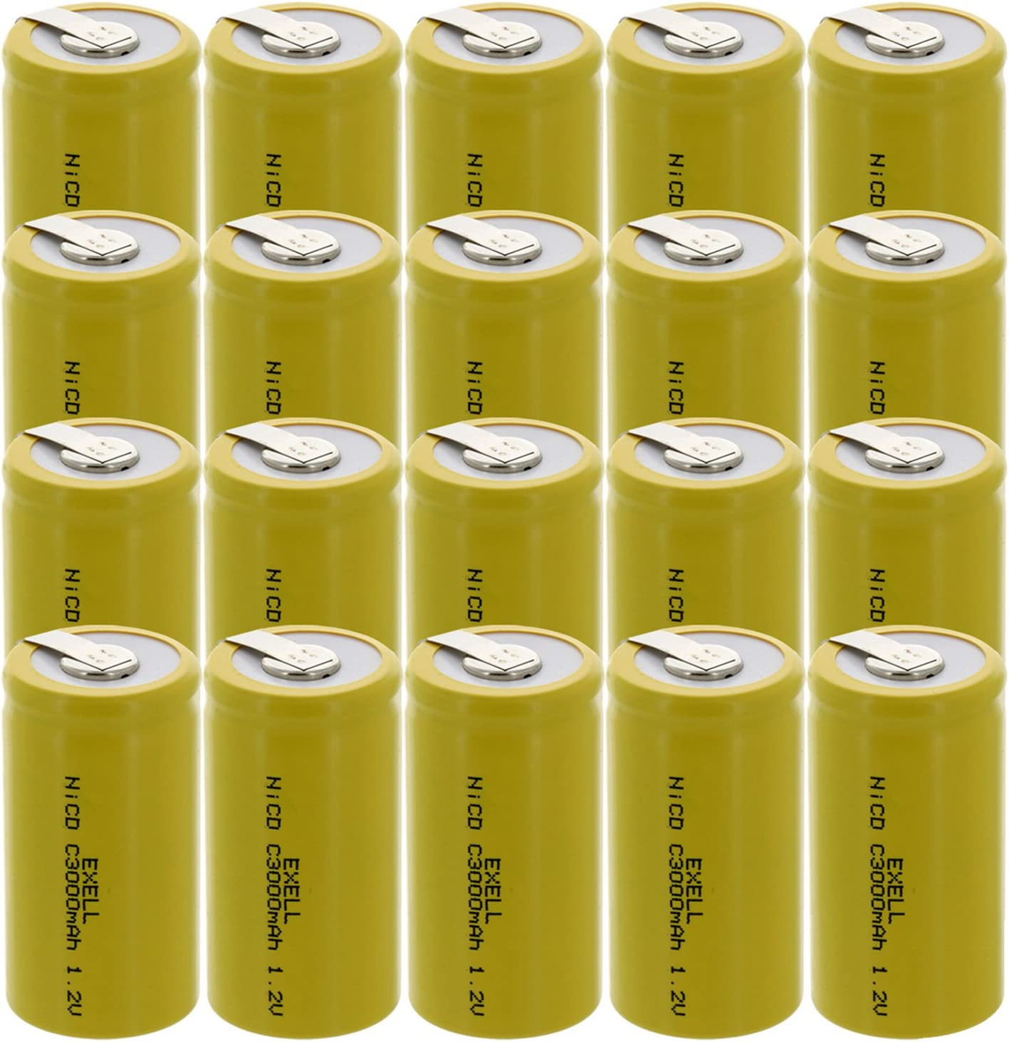 20x Exell C Size 1.2V 3000mAh NiCD Rechargeable Batteries with Tabs for meters, radios, hybrid automobiles, high power static applications (Telecoms, UPS and Smart grid), radio controlled devices