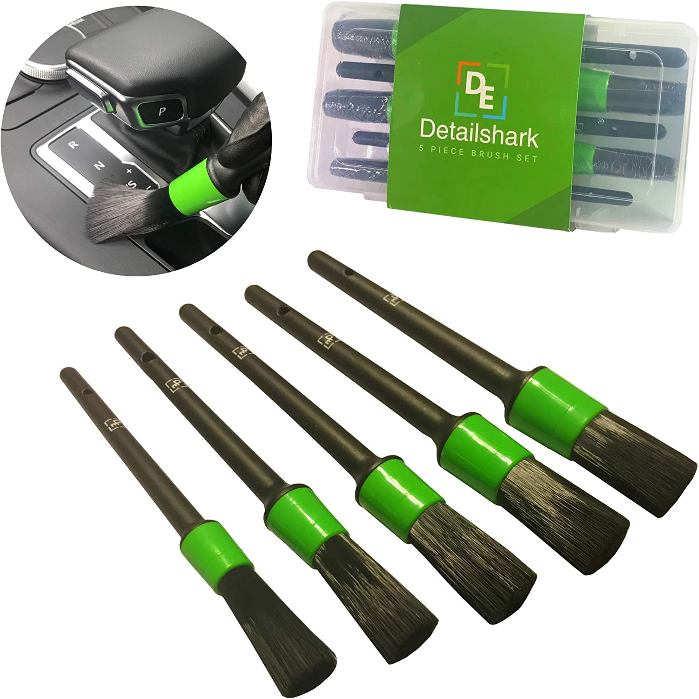 Detailshark Auto Detailing Brush Set (5) Car Detail Brush Supplies Car Detailing Kit Lug Nut Brush/Wheel/Interior/Leather/Seat/Upholstery/Engine Car Washing Kit of Reliable Brushes - Green