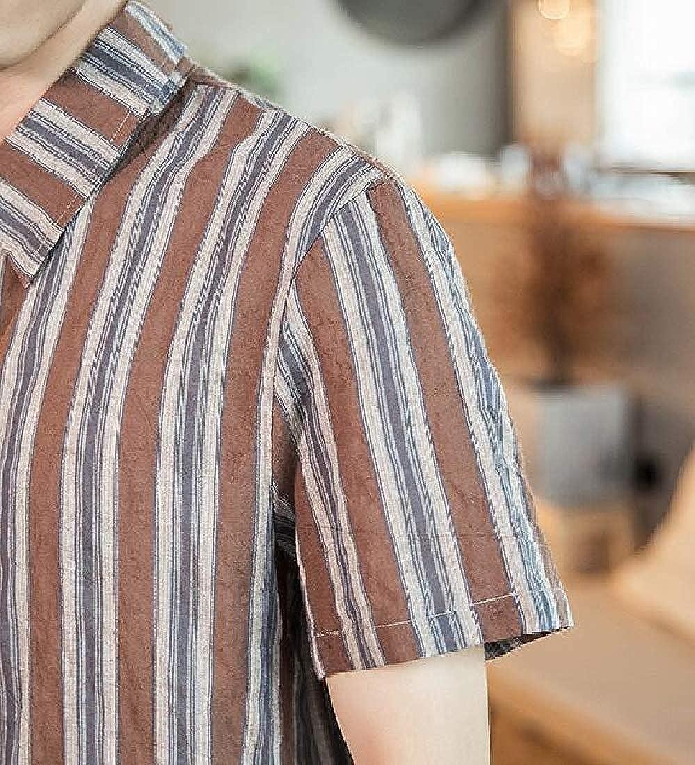 Domple Mens Chinese Style Cotton Linen Plus Size Short Sleeve Stripe Print Dress Shirts