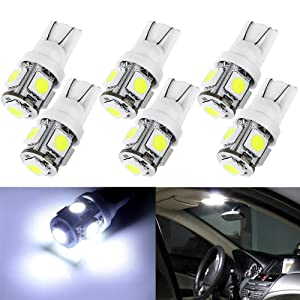 cciyu 6 Pack White T10 5-SMD Wedge LED Bulbs 194 168 2825 Instrument Dash Light Bulb US Ship For 1967-2000 Chevrolet Chevy II Citation Corsica Corvair Corvette El Camino Estate