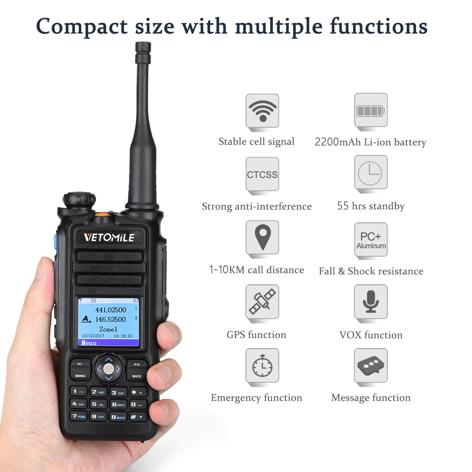 VETOMILE V-2017 Dual Band DMR Digital/Analog Two Way Radio 5W VHF 136-174MHZ & UHF 400-480MHz Walkie Talkie 3000 Channels IP67 Waterproof with GPS Function and Programming Cable by VETOMILE (Image #4)