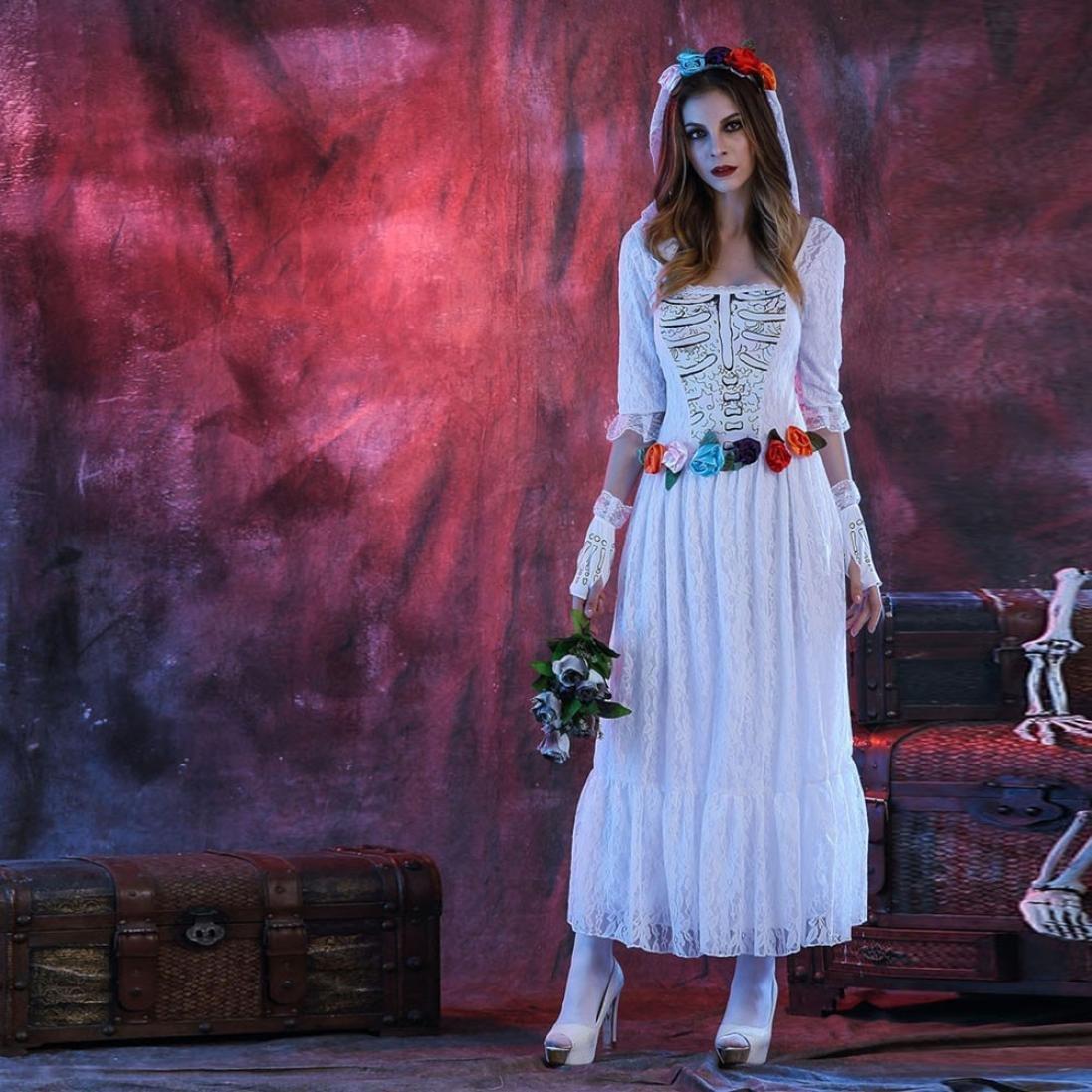 yiwula mujeres vestido de novia cadáver disfraz de Halloween cosplay ...