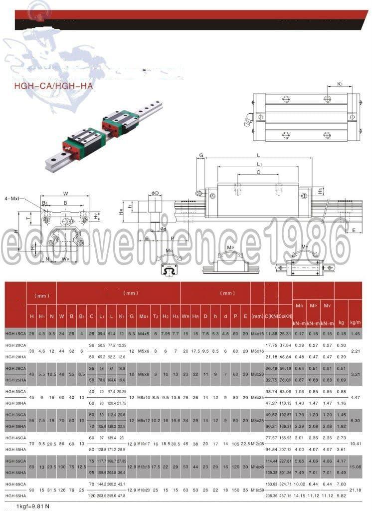 6 Sets HGR20-400//700//1000mm Linear Rail /&HGH20CA Bearing/&RM1605-400//700//1000mm Anti-backlashed Ballscrew/&BF12//BK12/&6.3510mm Stepper Coupling