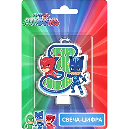 PJMASKS Сandle on a Cake Topper 3 Years Owlette Catboy Must Have Accessories for the Party