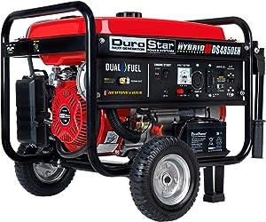 Durostar DS4850EH Dual Fuel 4850 Watt Electric Start Portable Generator, Red/Black
