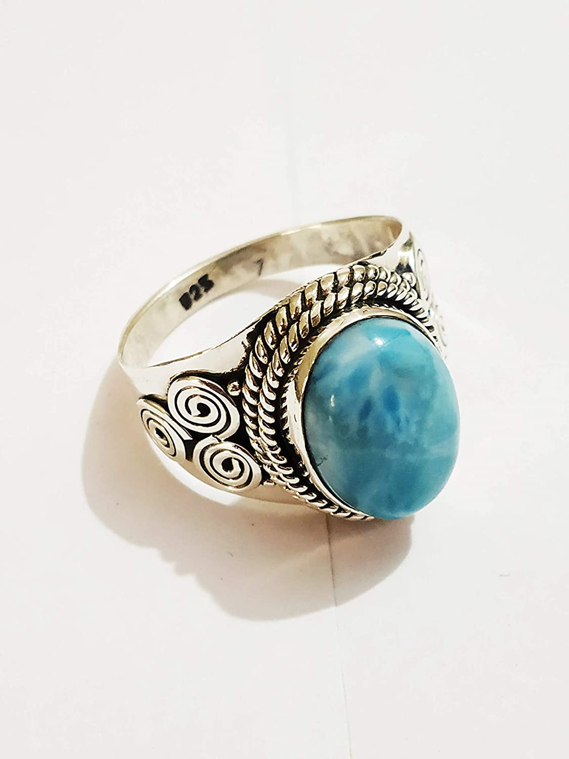 hippie jewelry Natural Larimar boho ring handmade blue stone ring free shipping item rings birthday gift item sterling silver 925