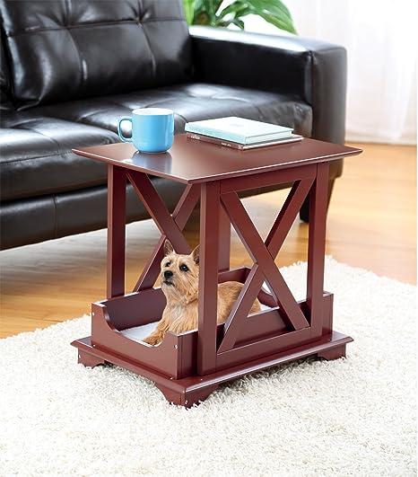 Amazoncom Wood Coffee Side Table With Fleece Like Pet Bed Great