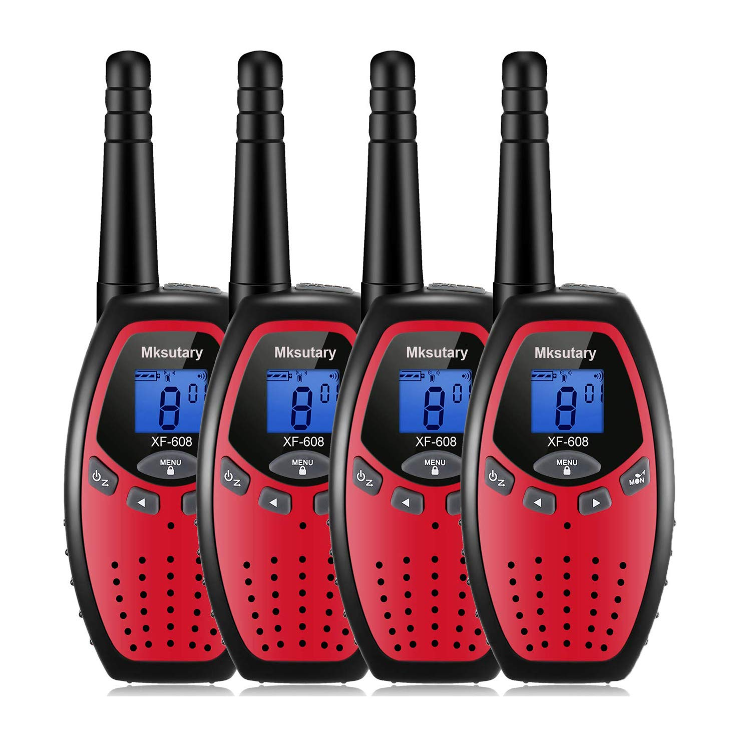 Kids Walkie Talkies 22 Channel GMRS Two Way Radios Long Range Handheld Walkie Talkies for Kids Adult Walkie Talky 4 Pack Red by Mksutary (Image #1)