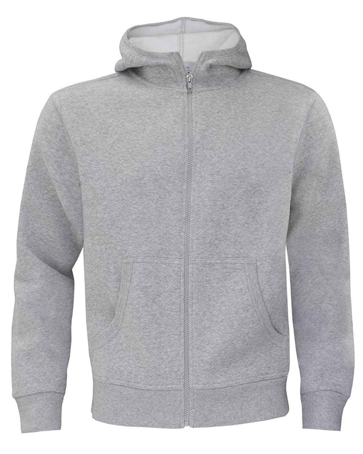 B&C Collection Monster Mens Zip Up Hoodie Hooded Sweatshirt Heather Grey M