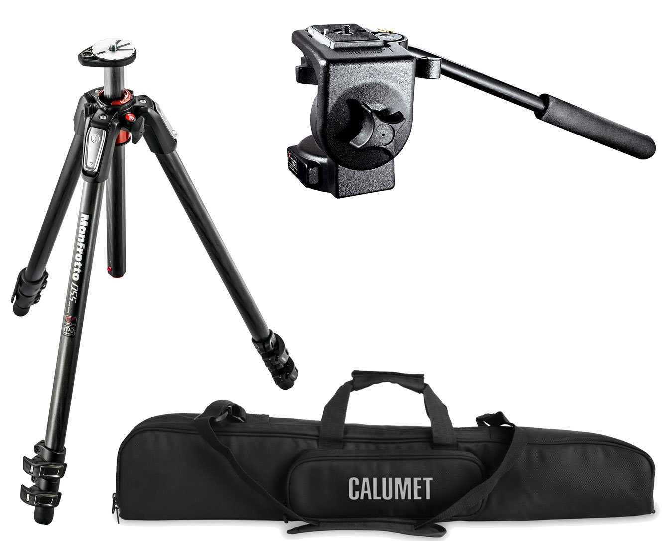 Manfrotto MT055CXPRO3 055 Carbon Fiber 3-Section Tripod Kit with 128RC Micro Fluid Head with 200PL 14 RC2 Rapid Connector Plate and a Calumet Heavy-Duty Padded Carry Case
