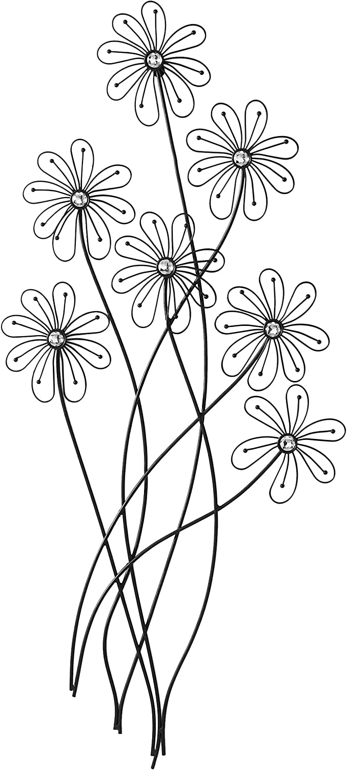 """Deco 79 64650 Modern Metal and Acrylic Floral Wall Decor, 40"""" H x 1 L, Polished Black Finish"""
