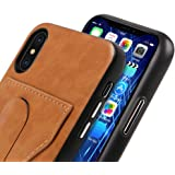 Bir iPhone X Case with Card Holder and Kickstand Fully Compatiable With Wireless Charger PU Leather (Brown)