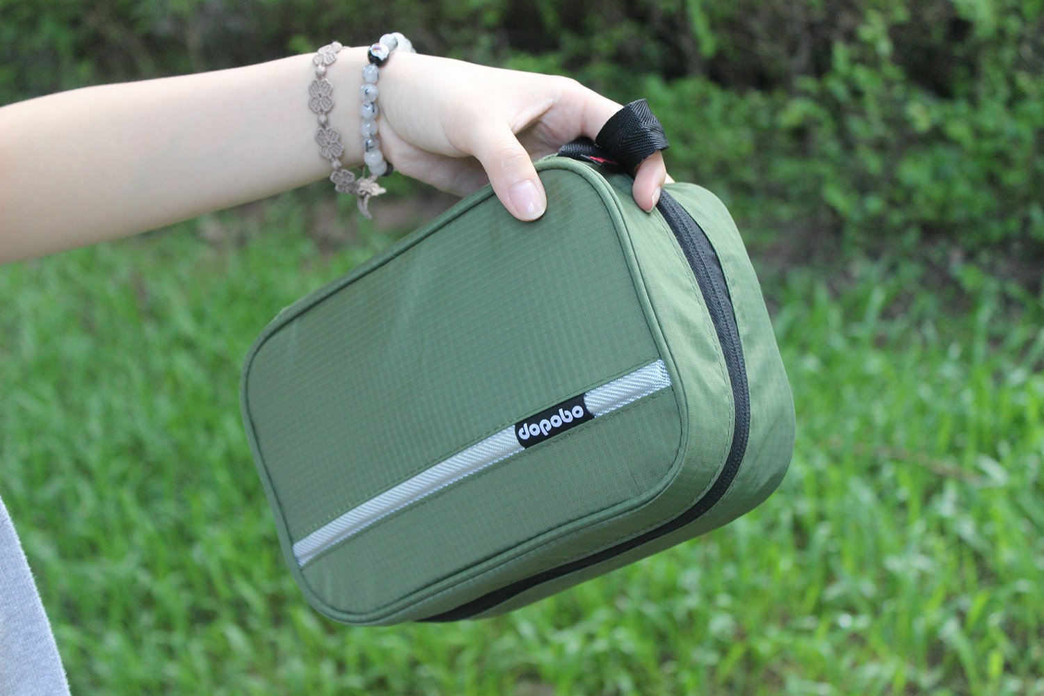 Dopobo Travelling Toiletry Bag Portable Hanging Water-Resistant Wash Bag for Travelling, Business Trip, Camping (army green) by Dopobo (Image #6)