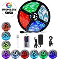 VIPMOON RGB LED Strip Lights Kit, 5M/16.4ft 300LEDs SMD 5050 Waterproof LED Strip with 44-Key RF Controller and DC12V 5A Power Adapter SAA Approved