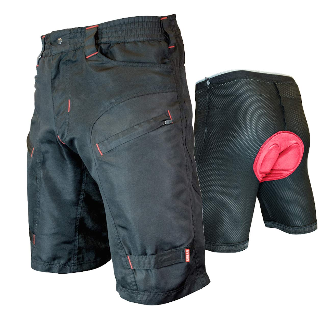 THE SINGLE TRACKER-Mountain Bike Cargo Shorts, With Premium Antibacterial G-tex Padded Undershorts, Small 26-28''