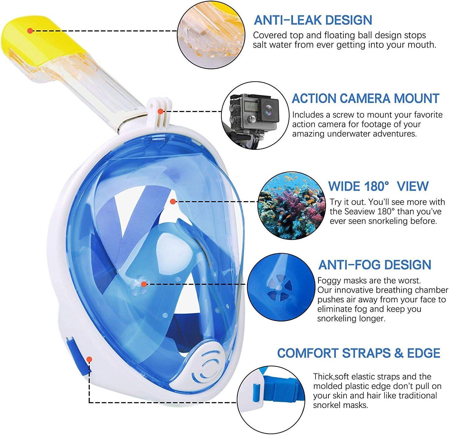 Blu S//M Maschera da Snorkeling per Adulti e Bambini,Panoramica a 180/°con Montatura per Camera Dazione Rimovibile Anti-Nebbia Anti-perdite Maschere da Immersione Wsobue Maschera Subacquea