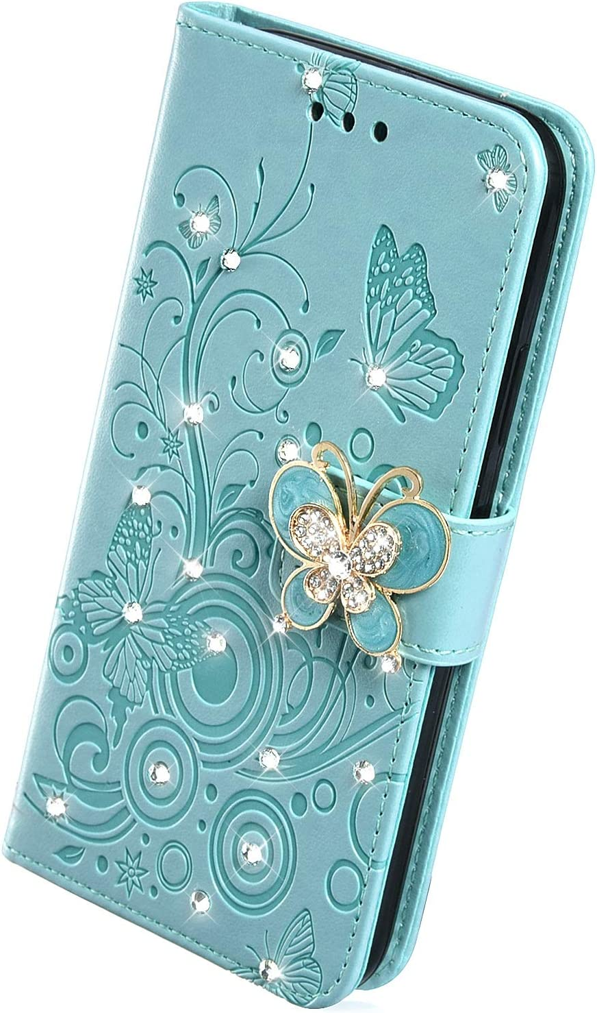 Herbests Compatible with Huawei P30 Lite Wallet Case Bling Glitter Crystal Diamond Butterfly Flower Leather Folio Flip Case Slim Book Cover with Credit Card Slot Stand Function,Purple