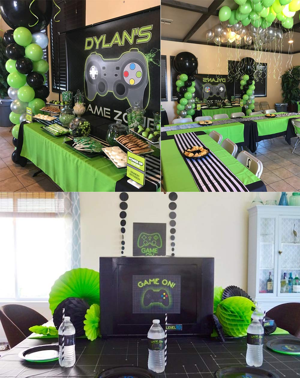 Video Game Party Supplies Set,Including Balloons Green Tablecloth and Pom Poms Paper Balls Perfect for Gamer Fans Kids Game Themed Party Decorations