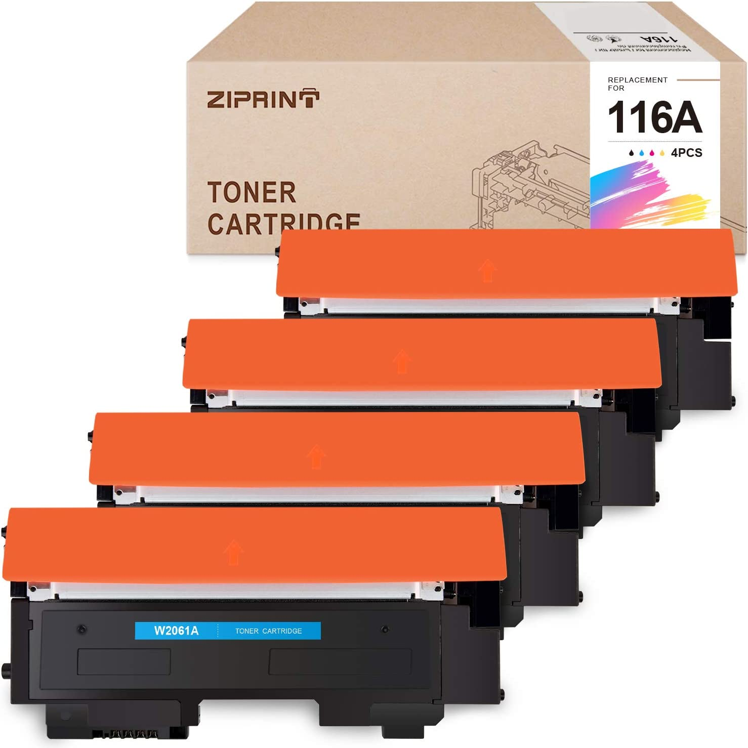 ZIPRINT with CHIP Compatible Toner Cartridge Replacement for HP 116A W2060A W2061A W2062A W2063A for HP Color Laser MFP 178nw MFP 179fnw 150nw Printer (Black Cyan Magenta Yellow, 4-Pack)