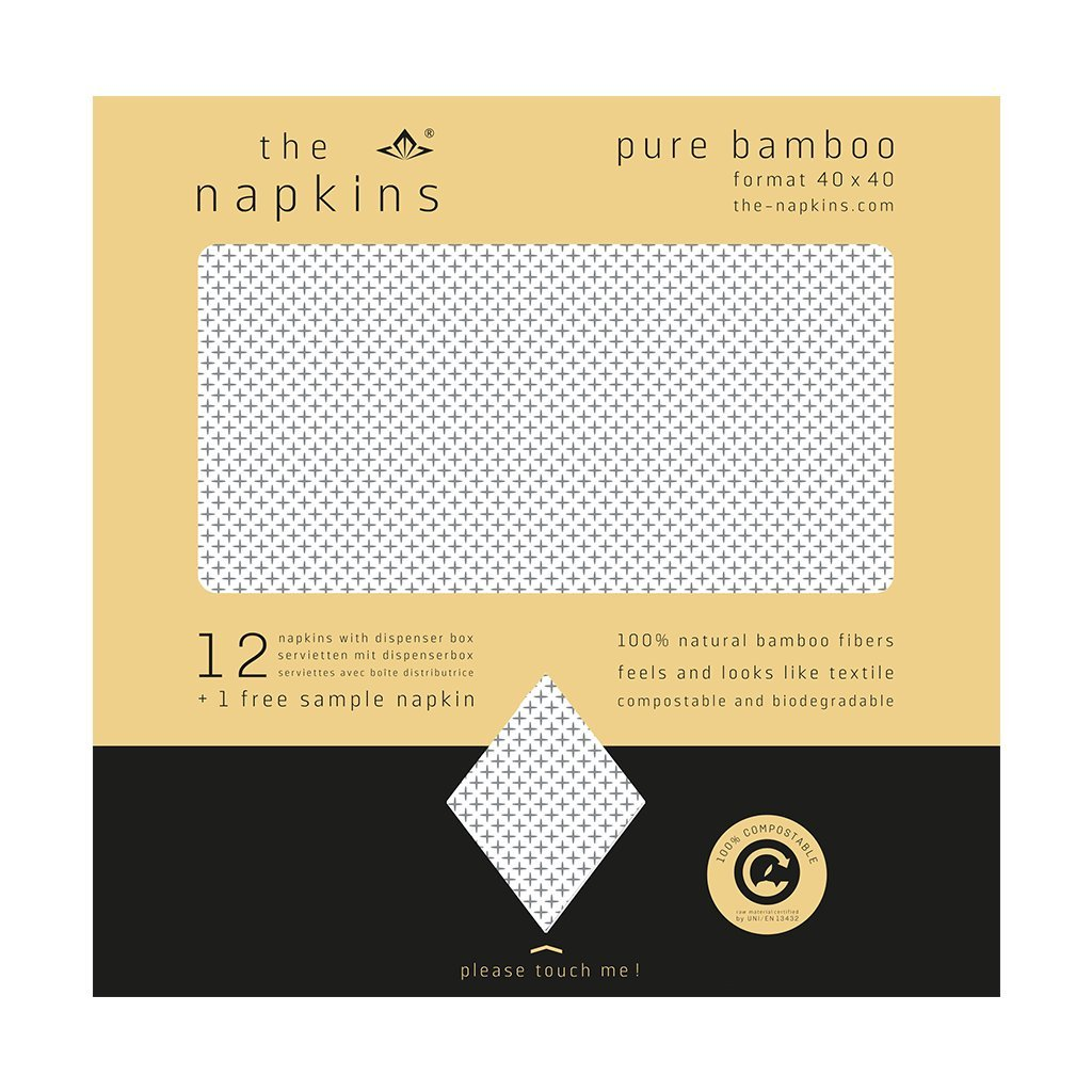 The Napkins Pure竹デザイン – 40 x 40 cm生分解性ナプキン – Feels Like布  Lexi Natural/ Silver B074P87317