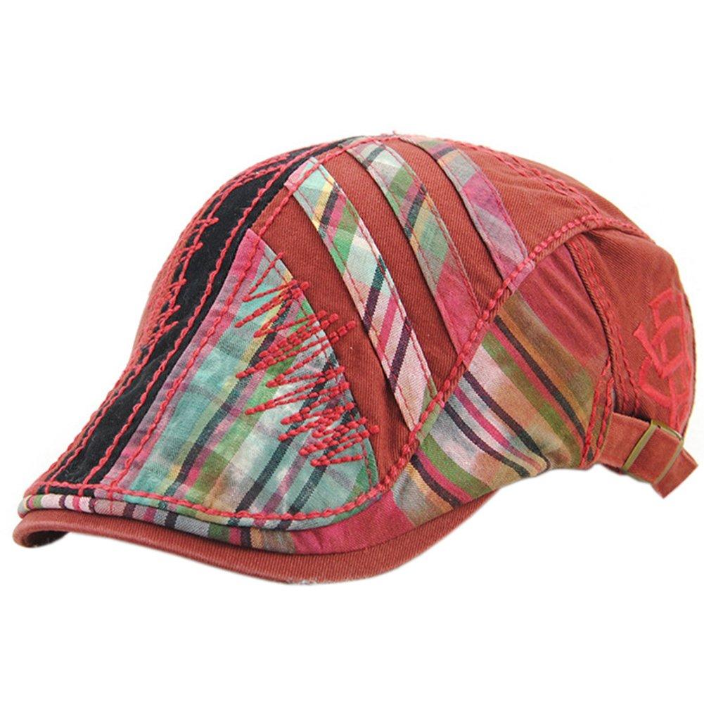 b2fda5aedde35 FULIER Women s Beret Newsboy Cap Cotton Splice Suture Plaid Casual  Adjustable Forward Hat (Red)