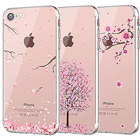 buy popular cb9e1 f829a iPhone 7 Case, iPhone 8 Case, CarterLily [3-Pack] [Shock Absorption] Clear  Cherry Blossoms Design Pattern Soft Flexible TPU Back Case for iPhone 7 ...