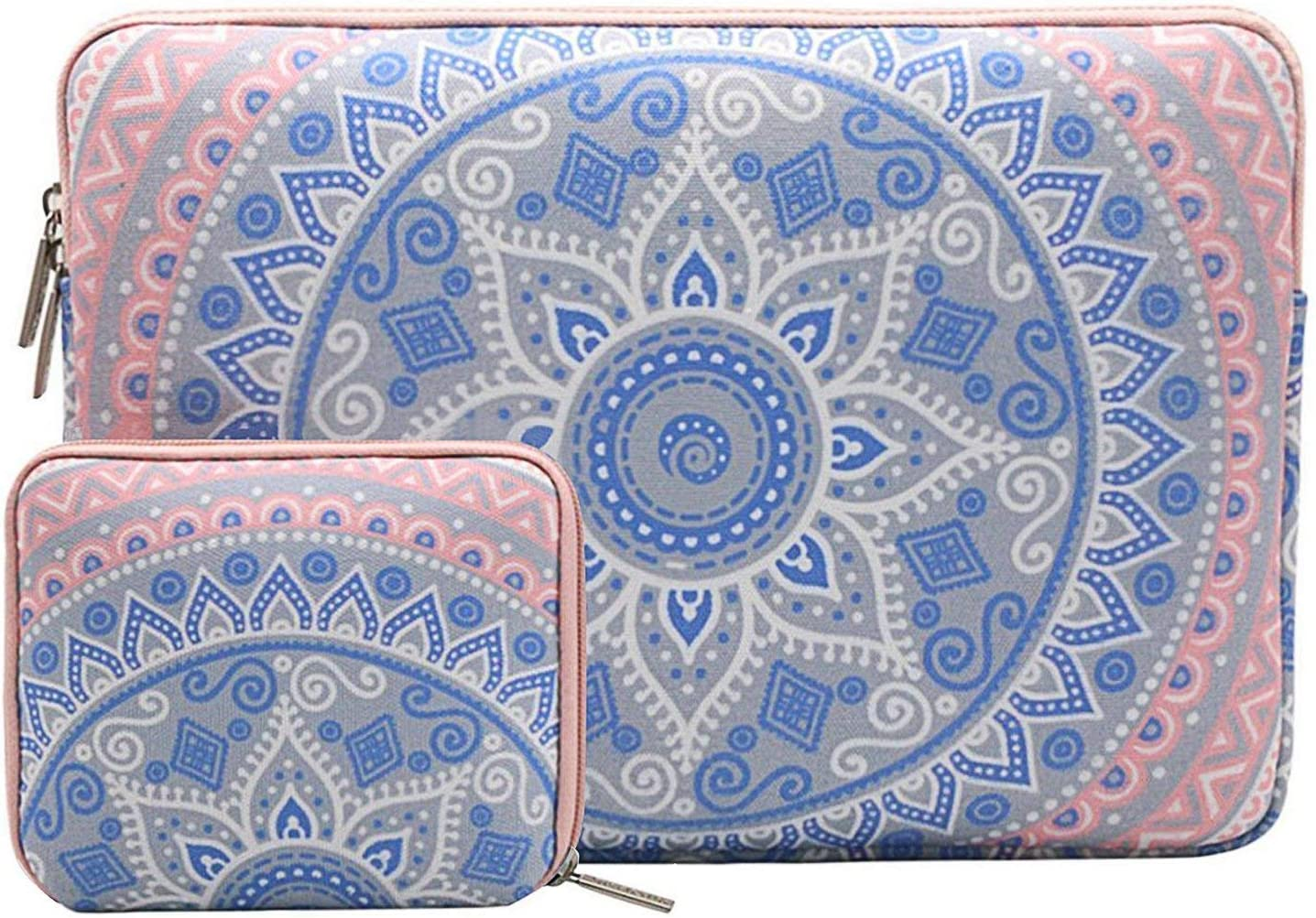 MOSISO Laptop Sleeve Compatible with 15 inch MacBook Pro Touch Bar A1990 A1707, ThinkPad X1 Yoga, 14 Dell HP Acer, Surface Laptop 3 15, Protective Carrying Bag Cover with Small Case Mandala MO-MDL002