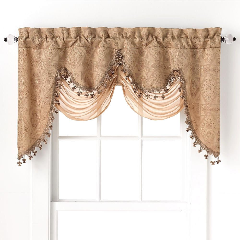 Go gold curtains and valances - Me Portofino Gold Jacquard Curtain Valances 52 Inch By 28 Inches Home Kitchen