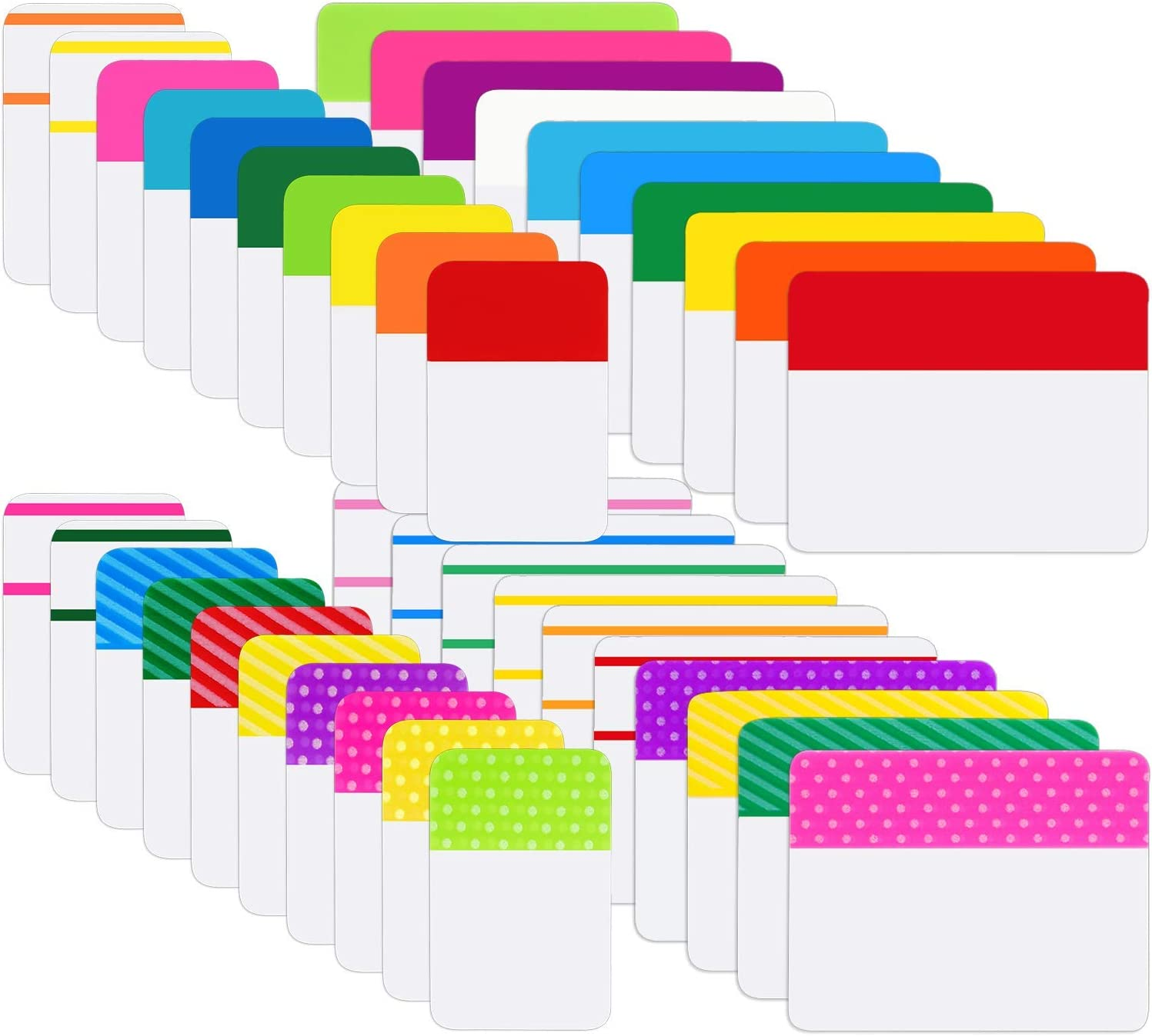 800 Pieces File Tabs Sticky Index Tabs, Writable and Repositionable Filing Tabs Flags for Pages or Book Markers, Reading Notes, Classify Files, 40 Sets (24 Colors, 1 Inch and 2 Inch)