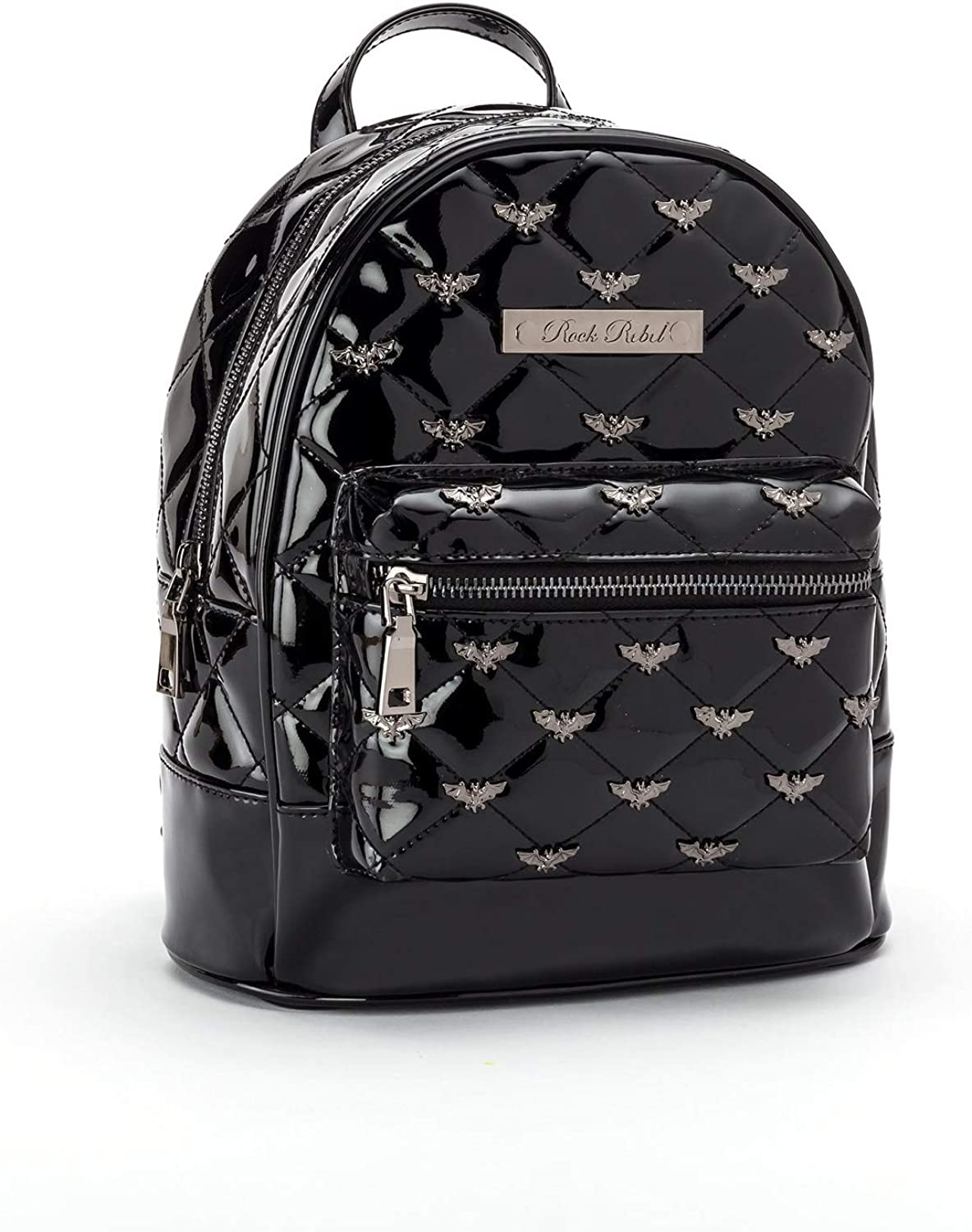 Rock Rebel Bats Studded Quilted Mini Backpack Black