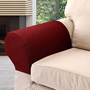 Arm Rest Covers Set, Pack of 4 Stretch Armchair Arm Covers Soft Polyester Arm Caps Non Slip Furniture Protector Armchair Slipcover for Chair, Sofa, Couch (Wine Red)