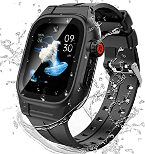 Lee-King for Apple Watch Series 3 2 42mm Waterproof case with Band Built-in Screen Protector Shockproof Dirtproof Snowproof Full-Body Protective case for iWatch Series 2 Series 3 Case 42mm Black
