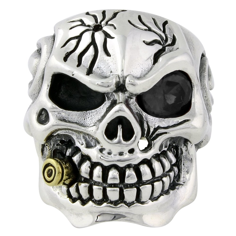Black Cubic Zirconia One Eye YG Plated Bullet to the Head Skull Ring Sterling Silver 925 Size 18