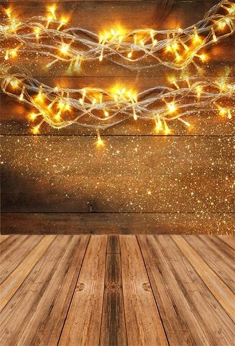 Sfondi Natalizi Oro.Yongfoto 2x3m Vinile Fondali Fotografici Natale Luci Di Ghirlanda D Oro Caldo Di Natale Tavolo In Legno Rustico Sfondi Foto Partito Studio Fotografico