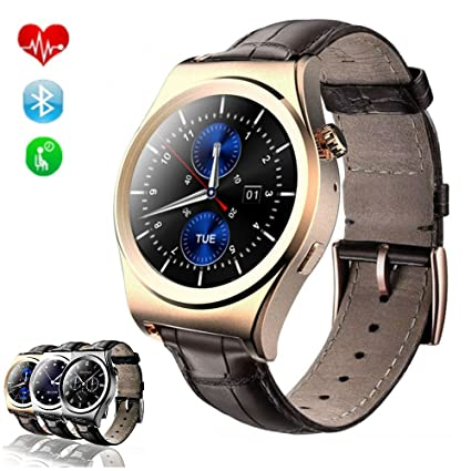 TKSTAR Sports Smartwatch Waterproof with Heart Rate Monitor, Blood Pressure, Pedometer Watches for Men Women Steel Strap (Leather Strap X10 Gold)
