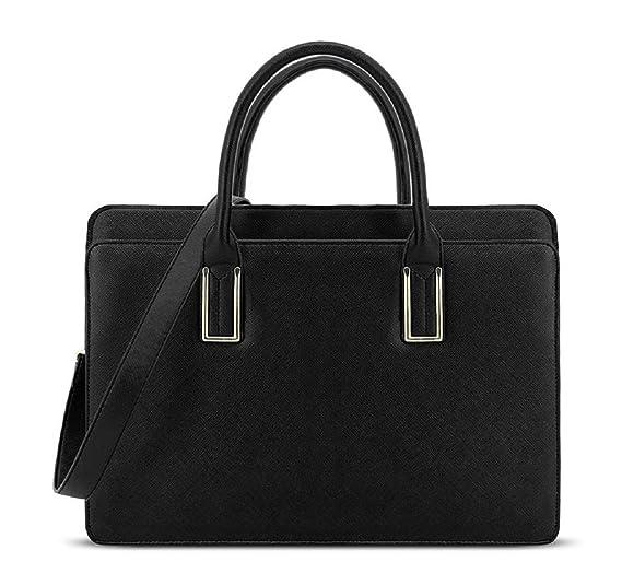 caf7c0d47b5a LYDC Faux Leather Vintage 3 Compartment Briefcase Laptop Tablet Bag Ladies  Work Office Shoulder Handbag Girls School College Bag (BLACK)   Amazon.co.uk  ...