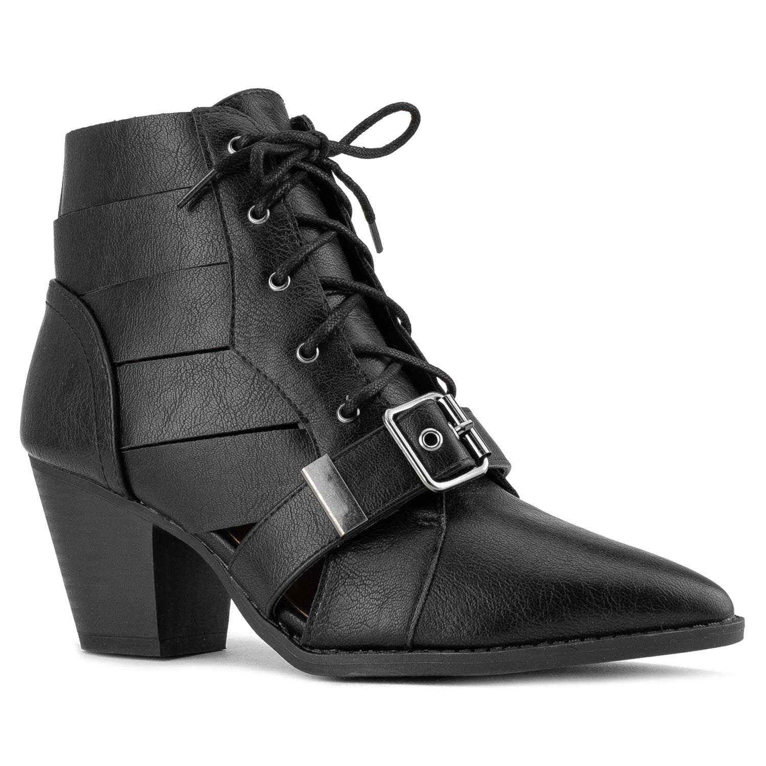 8c042f77c15ab Amazon.com   RF ROOM OF FASHION Women's Woven Crisscross Buckle Strap  Pointy Toe Ankle Booties   Ankle & Bootie