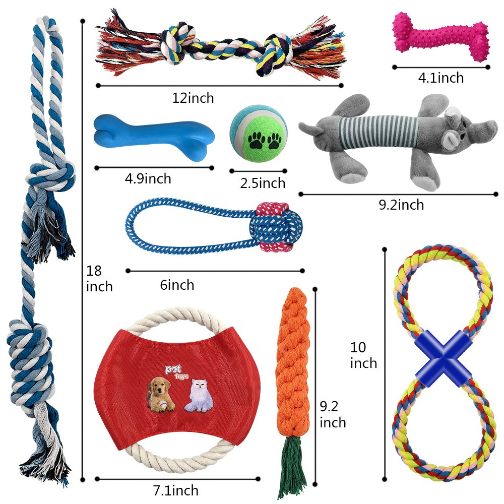 Ai-uook Dog Toys, Dogs Chew Teething Rope Toys, Puppy Toys 10 Packs Gift Set