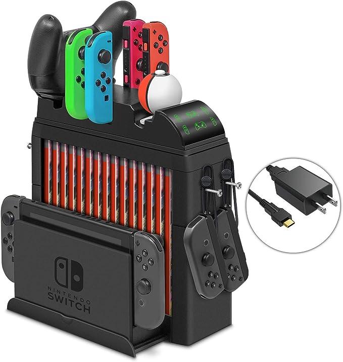 Base de carga para Nintendo Switch Joy-Cons, controlador Pro y controlador Poke Ball Plus, kit de soporte de almacenamiento multifuncional para Nintendo Switch y accesorios de interruptor: Amazon.es: Electrónica