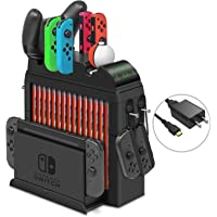 Base de carga para Nintendo Switch Joy-Cons, Pro Controller y Poke Ball Plus Controller, multifuncional Storage Rack Stand Kit para Nintendo Switch y accesorios de interruptor