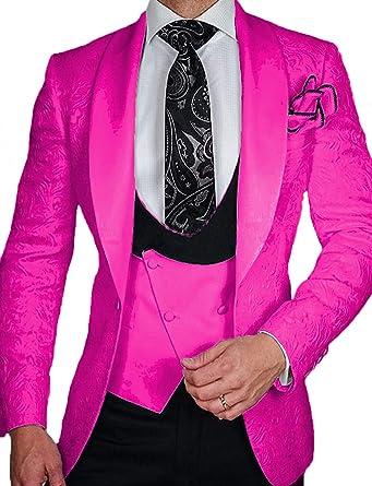 36bd3ef517 Men Dress Suits Formal Dinner Jacket Tux Shawl Lapel Stylish Floral Blazers  for Men Fuchsia