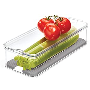 "iDesign Crisp Produce Plastic Refrigerator and Modular Stacking Pantry Bin with Lid and Removable Inner Basket, Perfect for Washing Vegetables, Fruit, Lettuce, BPA Free, 15.72"" x 6.32"" x 3.76"","