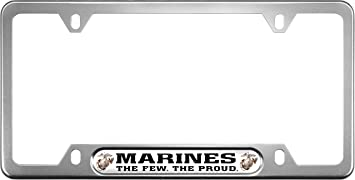 Black Insert with Free caps Black Narrow Top Car License Plate Frame with USMC USA Patriotic Anodized Aluminum Thin Top Marines