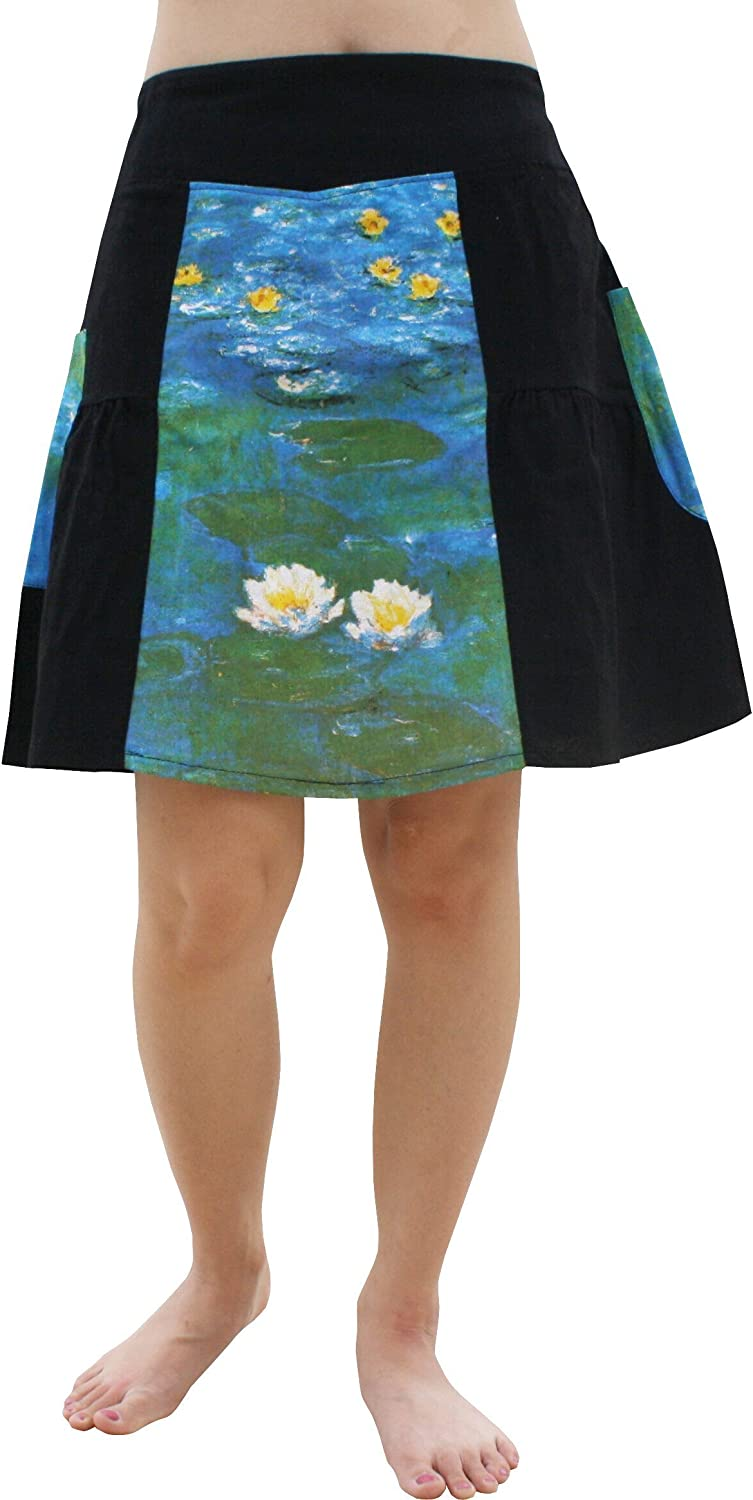 Water Lilies Fine Art by Claude Monet RaanPahMuang Panel Pleated Skirt
